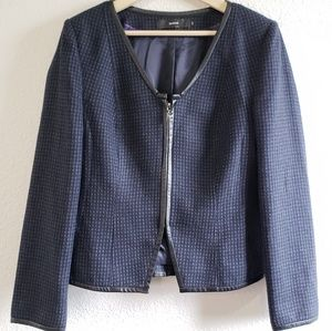 SARAR Wool Black & Blue Zip long sleeve Blazer